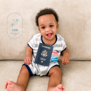 Baby with passport traveling with an infant